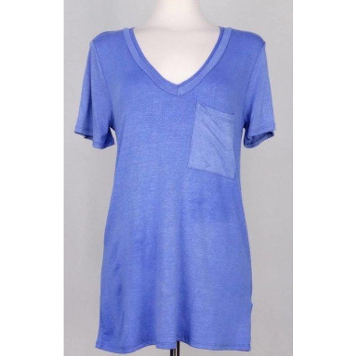 Blue Solid Short Sleeved V-Necked Top