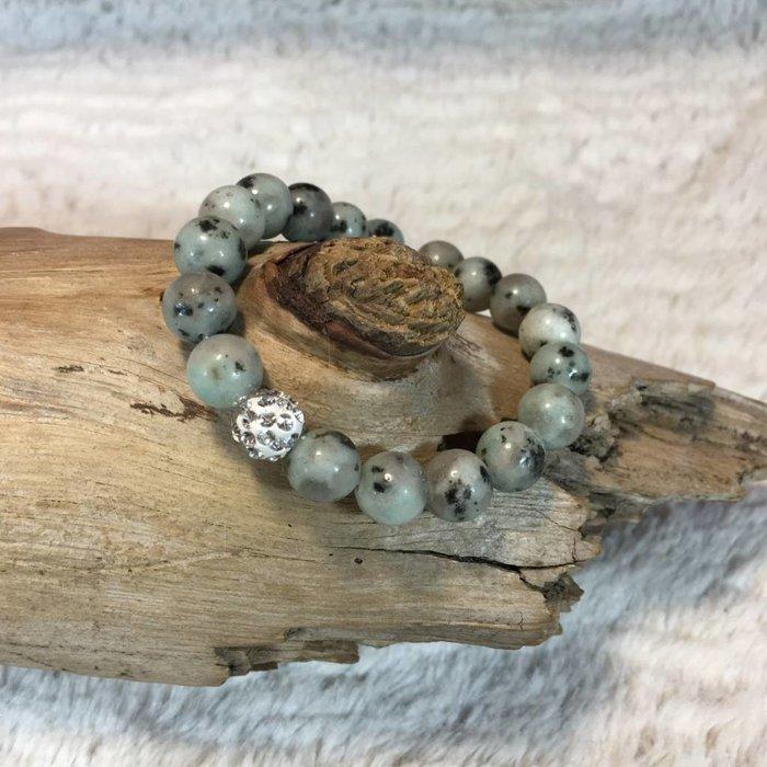 Mint Speckled Stone Stretch Bracelet