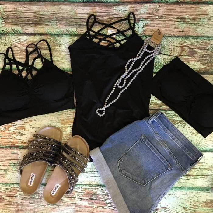 Black Criss Cross Tank - ONE SIZE