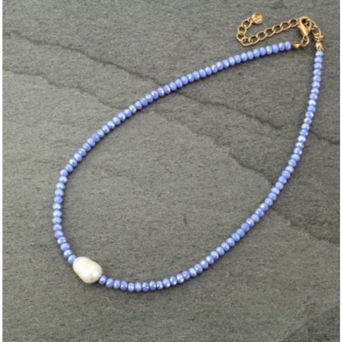 Blue Crystal Choker with Fresh Water Pearl Necklace