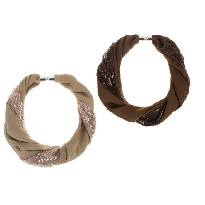 Tan Two Panel Sequin Magnetic Scarf