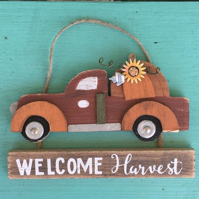 Truck Welcome Harvest Hanging Plaque
