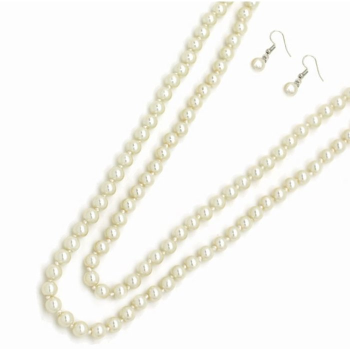 """Large Cream 60"""" Long Pearl Knotted Necklace Set"""