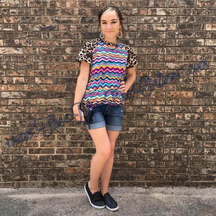 Leopard Sleeve Multi Color Wave Tunic with Keyhole