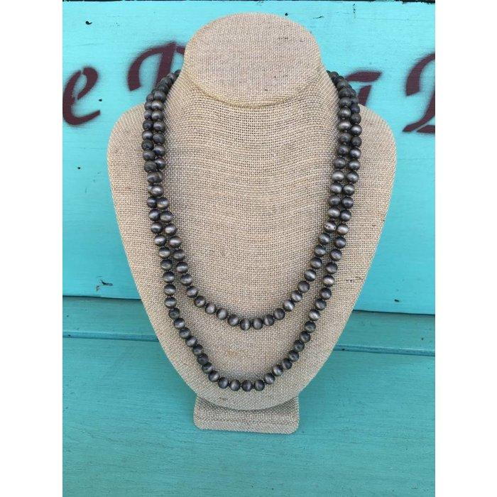 "Silver Navajo Pearl Beaded 60"" Necklace"