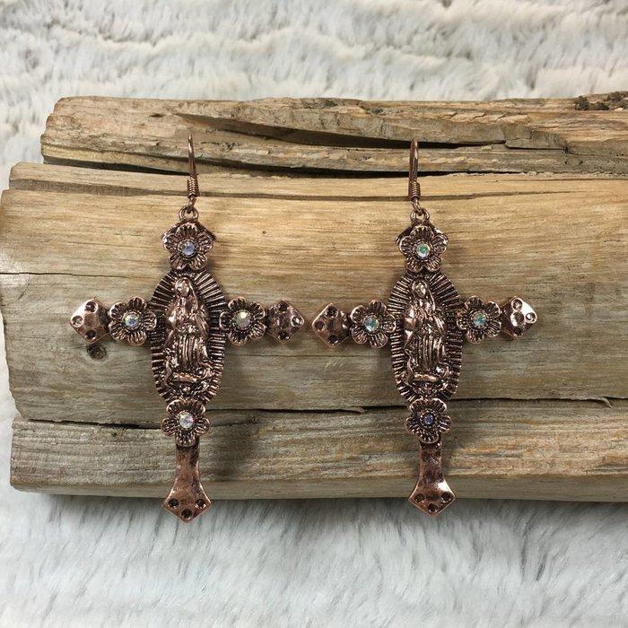 Copper Virgin Mary Floral Cross Earrings