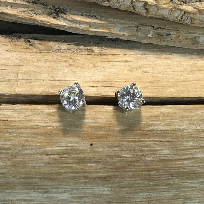 Small Round Cubic Zirconia Stud Earrings
