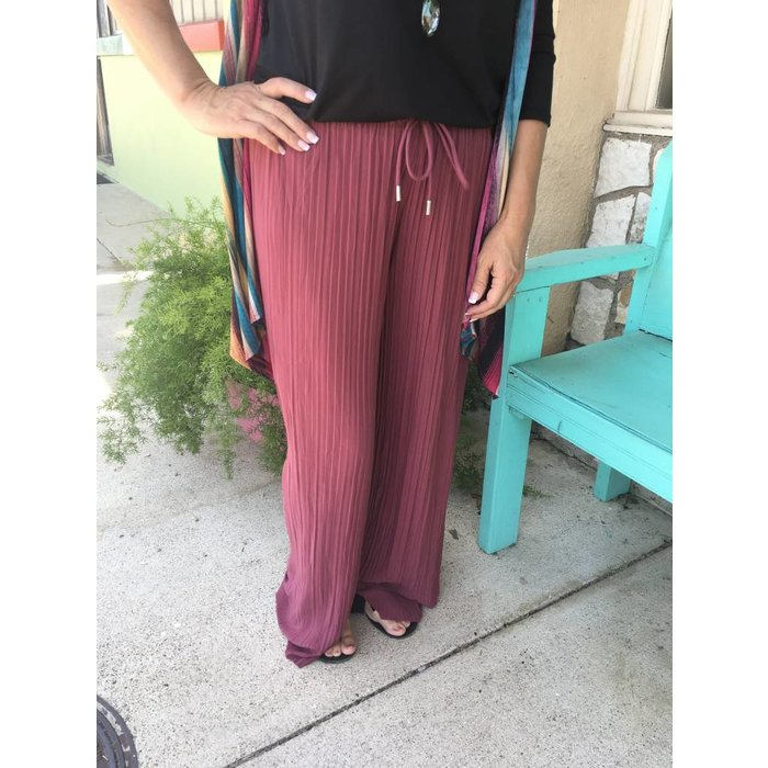 Mauve Accordion Palazzo Pants - ONE SIZE