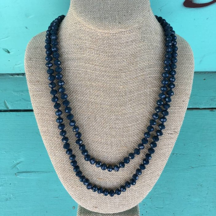 """Navy 60"""" Crystal Necklace"""