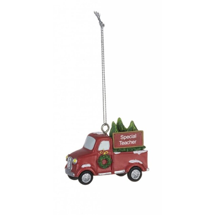 Special Teacher Red Truck Christmas Ornament