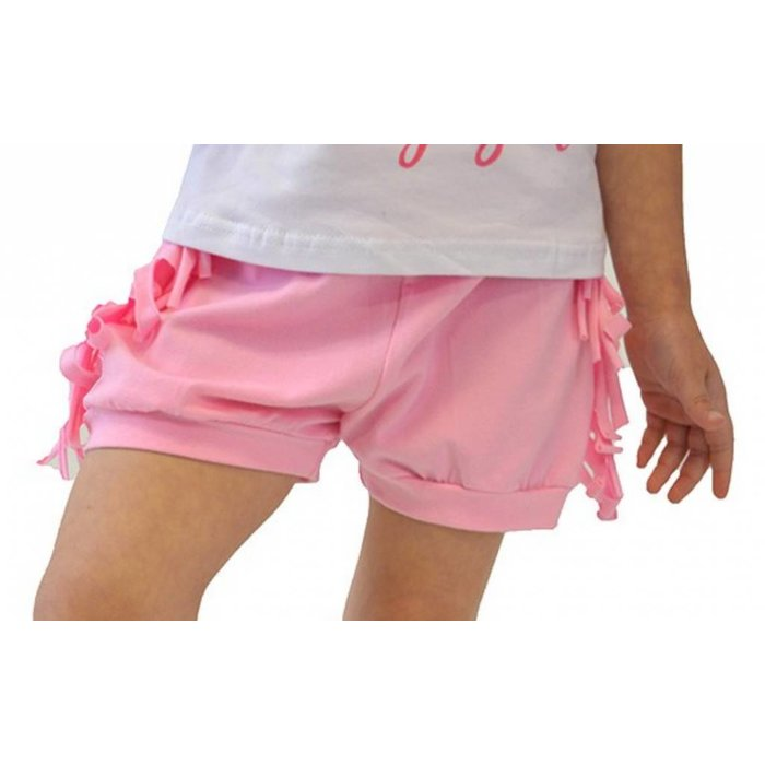 Kids Pink Fringe Cotton Shorts