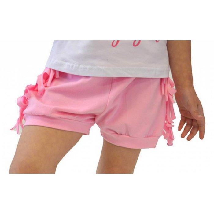 Kids Pink Fringe Cotton Shorts