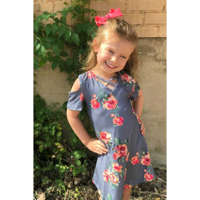 Kids Grey Floral Cold Shoulder Dress