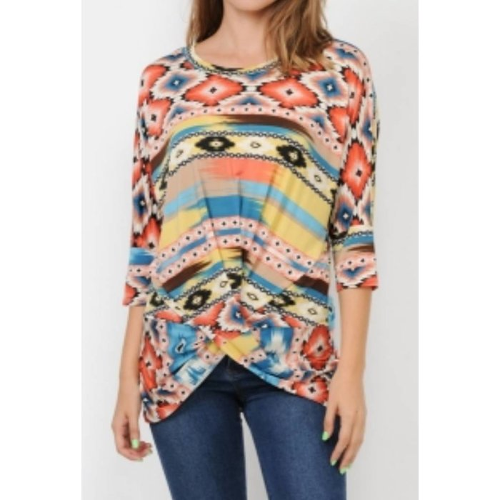 Multi Color Aztec Twist Front Dolmon Top