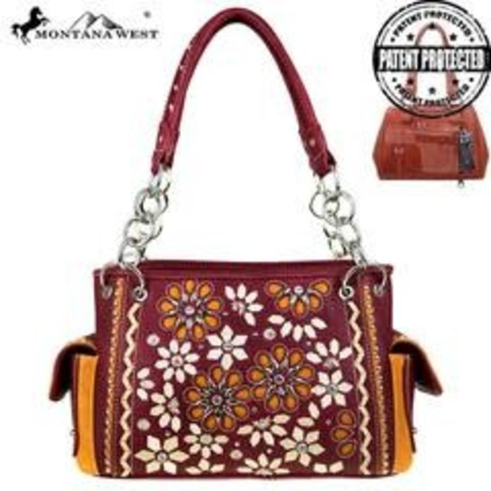 Burgundy Daisy Floral Embroidered Concealed Satchel