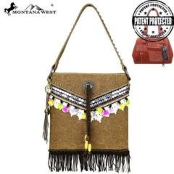 Brown Fringe Concealed Handgun Hobo Purse