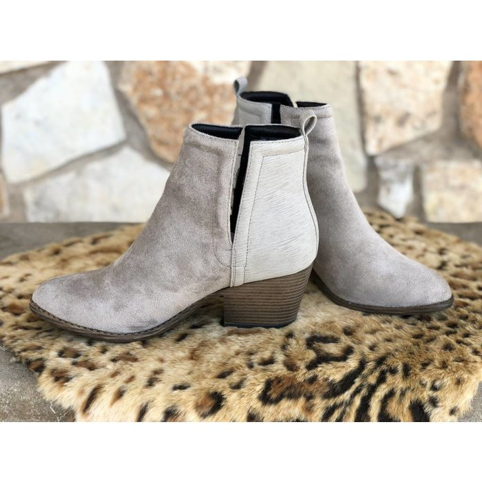 Giant Grey Slit Side Slip On Bootie