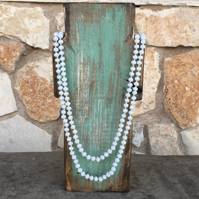 """White Crystal Knotted Long Necklace 60"""""""