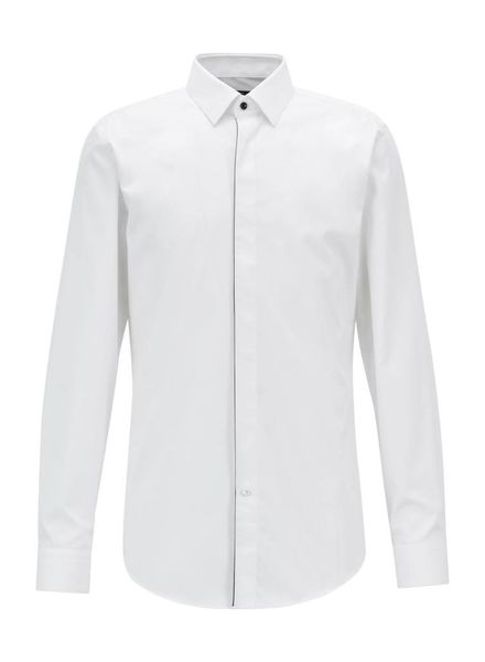 HUGO BOSS SLIM-FIT SHIRT WITH CONTRAST PIPING