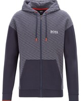 HUGO BOSS STRIPED FULL-ZIP HOODIE