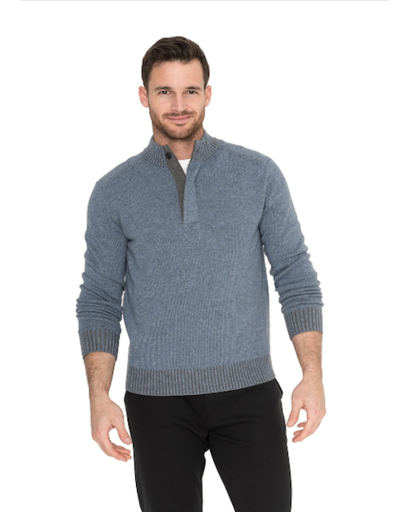 RAFFI BUTTON ZIP MOCK SWEATER