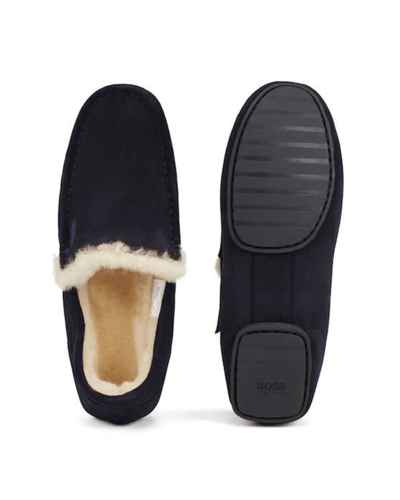 HUGO BOSS SUEDE SLIPPERS WITH SHEARLING LINING