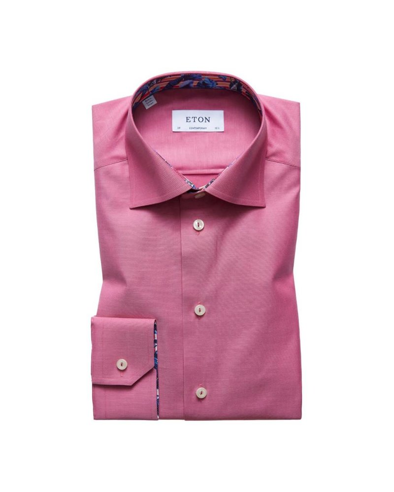 ETON SOLID SHIRT WITH TRIM