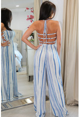 lovely day 4784 Blue Stripe Jumpsuit