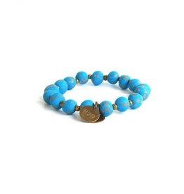 Simbi Haiti Small Clay Bead Bracelet With 2 Small Charms