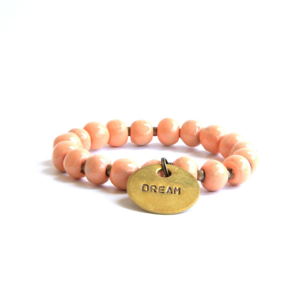Simbi Haiti Large Clay Bead Bracelet With 2 Large Charms