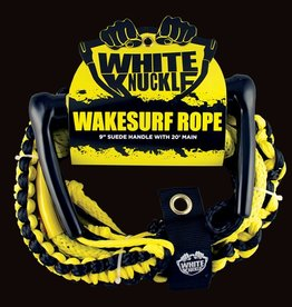 "Pulse/Diversco WHITE KNUCKLE Wakesurf Rope 9"" Leather Grip 20' Main"