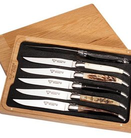 LAGUIOLE en Aubrac LAGUIOLE en Aubrac - 6 steak knives mixed horns