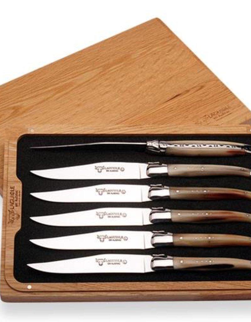 LAGUIOLE en Aubrac LAGUIOLE en Aubrac - Couteaux à Steak Pointe de Corne/6 Steak Knives Solid Horn