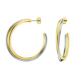 Calvin Klein Calvin Klein - Boucles d'oreilles double anneau en acier / or bicolores