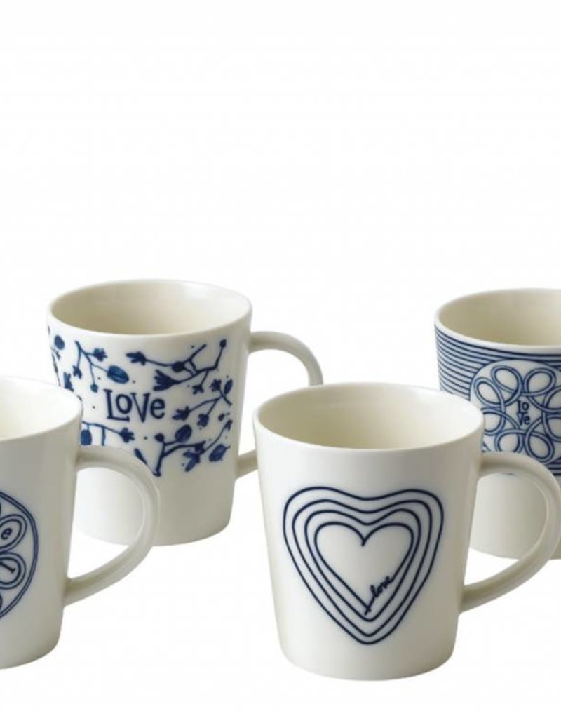 ED by Ellen Degeneres ED - Ellen Degeneres Blue Love Mug Set/4 Mixed
