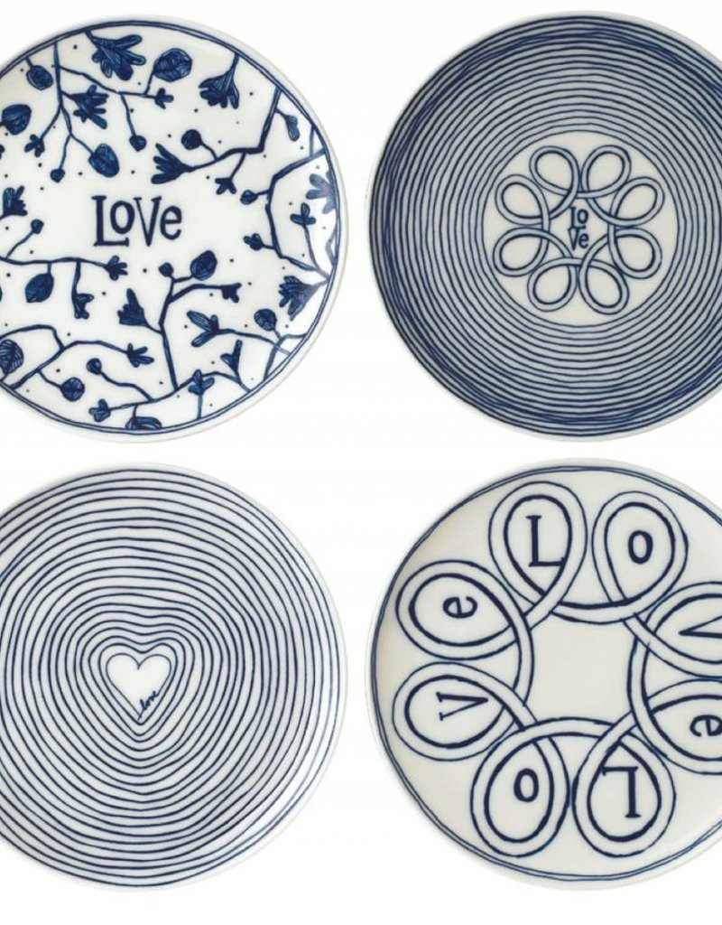 """ED by Ellen Degeneres ED - Blue Love Assiette 8"""" Ensemble/4 Mixtes"""
