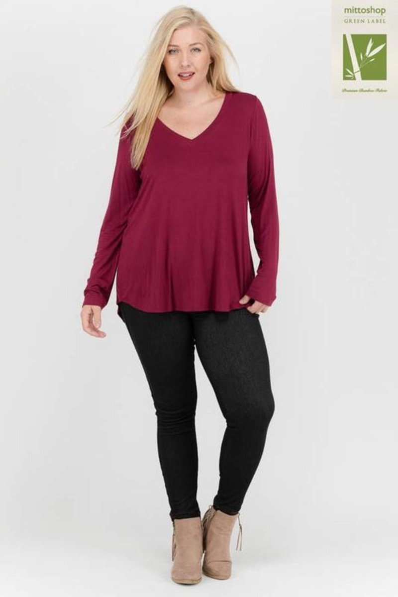 Soft V-Neck Long Sleeve T-Shirt Top