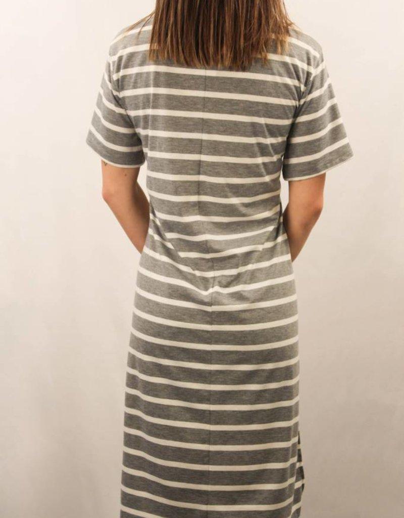 One Pocket Stripe Side Slit Top/ Grey