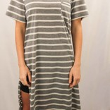 One Pocket Stripe Side Slit Top/ Grey