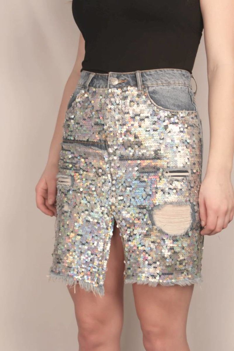 Sequin Denim Skirt