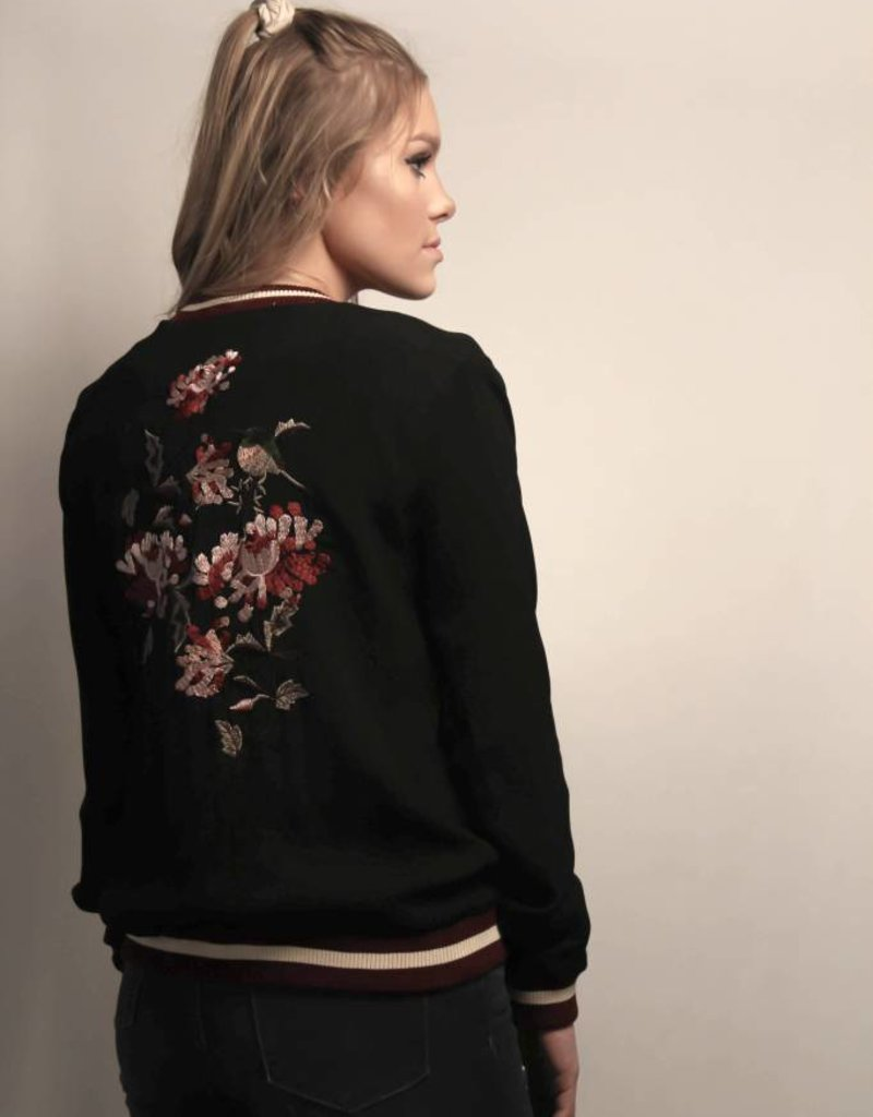 Embroidered Soft Bomber Jacket/Black&Wine