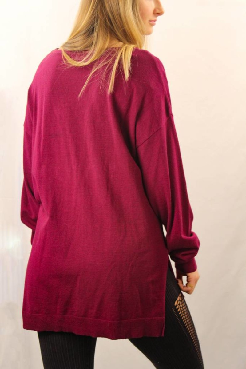High Low Sweater Top Crisscross Neckline