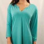 V- Neck Top 3/4 Sleeve Teal