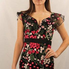 Ruffle Sleeve Embroidery Dress