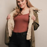 Cairen Faux Fur Lined Cargo Jacket/ Natural