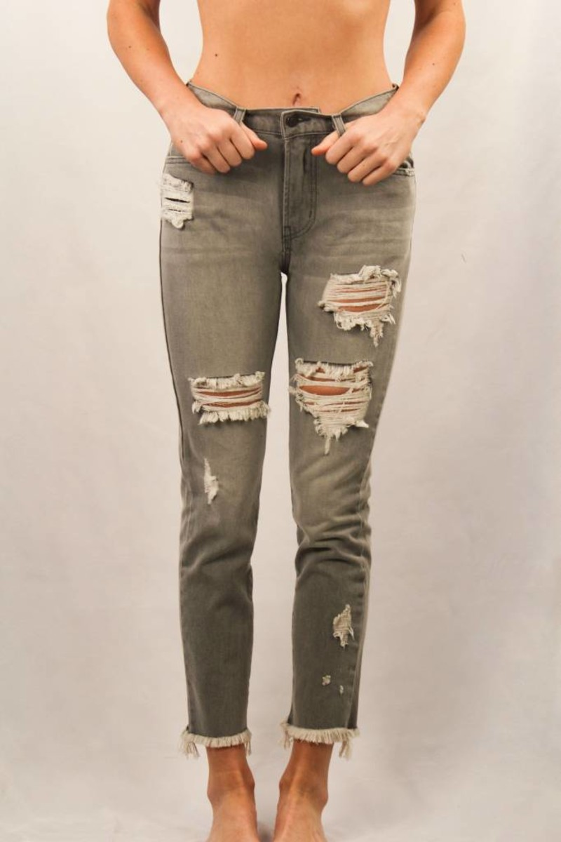 Fray Hem Distressed High Waist Jean/ Galactica Grey