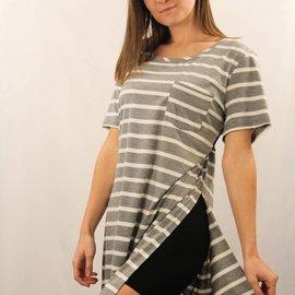 One Pocket Stripe Side Slit Top