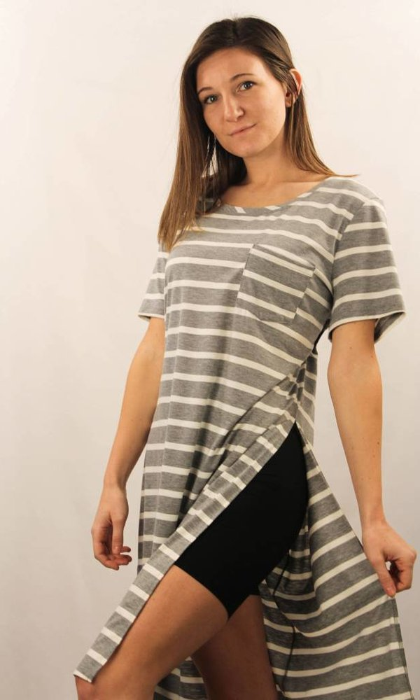 One Pocket Stripe Side Slit Top