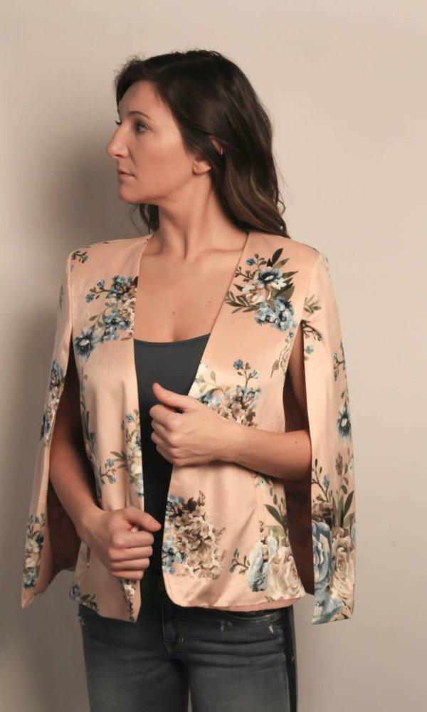 Velvet Floral Print Cape Jacket