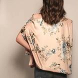 Velvet Floral Print Cape Jacket/ Dusty Rose & Blue